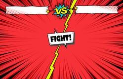 Cómic contra el fondo de la plantilla de la lucha, introducción de la batalla del super héroe ilustración del vector