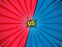 Cómico contra fondo de la introducción de la batalla del superhéroe stock de ilustración