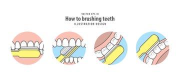 Cómo al vector de cepillado del ejemplo de los dientes en fondo azul stock de ilustración