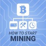 Cómo comenzar a minar imagen del cryptocurrency con título en fondo del chipset Simplemente y ejemplo del estilo para el blog o e Imágenes de archivo libres de regalías