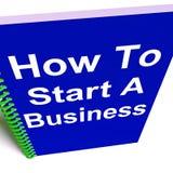 Cómo comenzar un negocio muestra comenzar estrategia Imagen de archivo