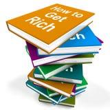 Cómo conseguir la riqueza de Rich Book Stack Shows Make Imagen de archivo libre de regalías