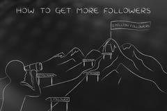 Cómo conseguir más seguidores, hombre que mira la trayectoria compleja al alza Fotos de archivo