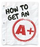 Cómo conseguir una A más informe del papel de escuela de la cuenta del grado Imágenes de archivo libres de regalías
