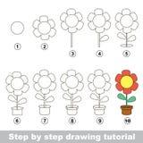 Cómo dibujar una flor del pote Fotografía de archivo