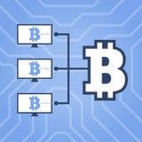 Cómo ejemplo plano del esquema de la red del cryptocurrency del trabajo Ordenadores con Bitcoin Fotografía de archivo libre de regalías
