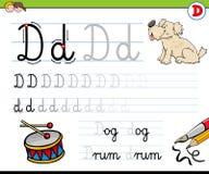 Cómo escribir el libro de trabajo de la letra D para los niños Ilustración del Vector