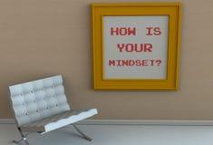 CÓMO ESTÁ SU MODO DE PENSAR, mensaje en el marco, silla en un cuarto vacío Imagen de archivo libre de regalías