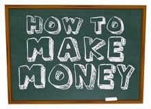 Cómo hacer el dinero - pizarra Imagen de archivo libre de regalías