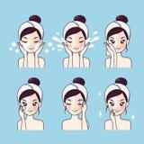 Cómo lavar el limpiamiento facial del paso stock de ilustración