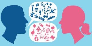 Cómo los hombres y las mujeres comunican Imagen de archivo libre de regalías