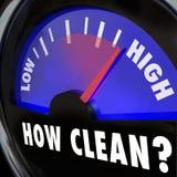 Cómo palabras limpias en la inspección de medición del nivel de limpieza del indicador Imagenes de archivo