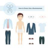 Cómo vestirse como un hombre de negocios Vector Set Fotos de archivo