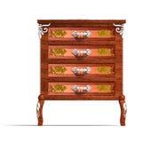 Cómoda de madera con los cajones de Louis XV. stock de ilustración