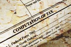 Cómputo del impuesto Fotografía de archivo libre de regalías
