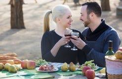Cónyuges que beben el vino en la tabla Imagen de archivo libre de regalías