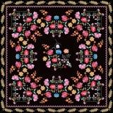 Cópia bonita do bandana com composições e beira florais bordadas das folhas Toalha de mesa bonita com flores coloridas ilustração royalty free