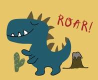 Cópia criançola do vetor do menino do dinossauro ilustração chldish para a camisa de t, forma das crianças, tela ilustração royalty free