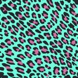 Cópia da pele do leopardo no fundo azul ilustração do vetor