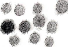 Cópia das moedas um lápis da grafita Ilustração do Vetor