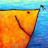 A cópia digital da arte do tubarão Ilustração Stock
