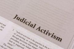 Cópia do ativismo judicial em um papel como um título fotografia de stock royalty free