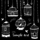 Cópia do Birdcage O pássaro na gaiola ilustração do vetor