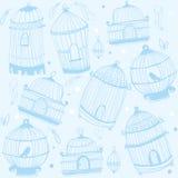 Cópia do Birdcage Teste padrão da natureza com birdcages ilustração stock