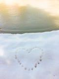 Cópia do coração na neve Imagens de Stock Royalty Free