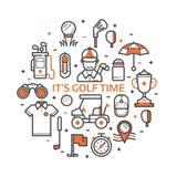 Cópia do golfe do jogo com ícones do golfe ilustração stock
