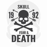 Cópia do medo e da morte Logotipo dos ossos do crânio e da cruz ilustração stock