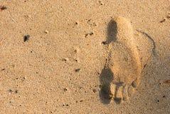 Cópia do pé na areia, de cabeça para baixo As férias de verão relaxam o tempo Fotos de Stock Royalty Free