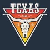 Cópia do T do estado de Texas com crânio do longhorn Foto de Stock Royalty Free
