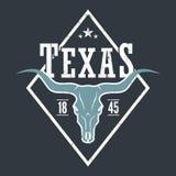 Cópia do T do estado de Texas com crânio do longhorn Foto de Stock