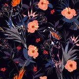 Cópia floral tropical bonita Pássaro do papagaio do esboço no jung ilustração stock