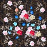 Cópia infinita para a tela com as flores bonitos das rosas, da margarida e do cosmos no fundo escuro ornamentado ilustração royalty free