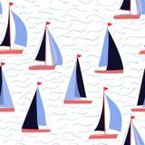 Cópia náutica da repetição dos barcos de vela e do vetor de ondas ilustração royalty free