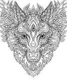A cópia para t-shirt rabisca o lobo, para a garatuja colorindo ilustração royalty free