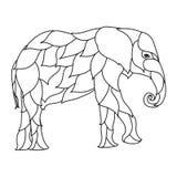 Cópia preto e branco da garatuja do elefante com testes padrões étnicos Fotografia de Stock