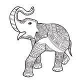 Cópia preto e branco da garatuja do elefante com testes padrões étnicos Foto de Stock Royalty Free