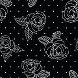 Cópia preto e branco da rosa do vintage da repetição sem emenda do vetor com um fundo do ponto imagens de stock royalty free