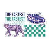 Cópia rápida do carro desportivo e do leopardo ilustração royalty free