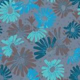Cópia selvagem da margarida azul do jardim do vetor sem emenda da repetição com um fundo da textura fotografia de stock