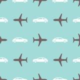Cópia sem emenda com aviões e carros Foto de Stock Royalty Free