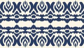 Cópia sem emenda da beira de Ikat Teste padrão do shibori da tintura do laço do vetor com listras e viga ilustração do vetor
