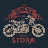 Cópia tirada mão do t-shirt da motocicleta do vintage Imagem de Stock