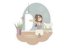 Cópia - uma mulher que trabalha da HOME Ilustração Royalty Free