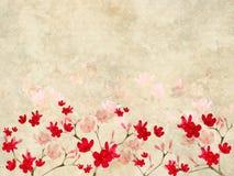 Cópia vermelha e cor-de-rosa da flor em pergaminho com nervuras Fotos de Stock