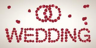 Cópia vermelha realística Wedding das pétalas cor-de-rosa Fotografia de Stock