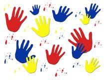 Cópias coloridas da mão ilustração stock